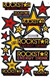 Rockstar Energy Drink Graphic Sticker Decal 1 Sheet RE001 Yellow/Red.
