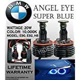 ICBEAMER Fit BMW Canbus Error Free Angel Eye Headlight E92 H8 Halo Ring LED Bulbs Xenon Blue Lamps Bulbs Both Side