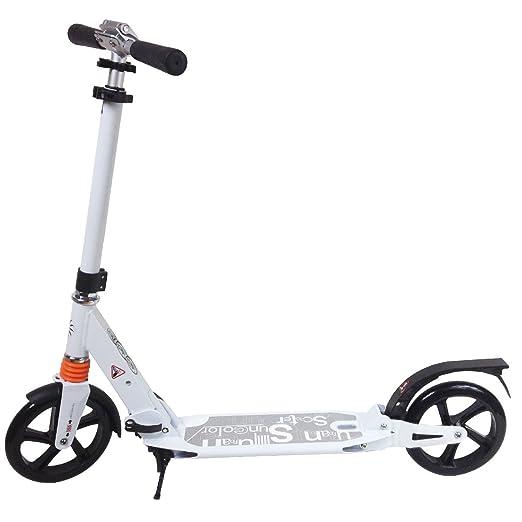 Trottinette patinette en aluminium pliable pour adulte et adolescent usage quotidien urbain pour le travail ou le loisir-Blanc
