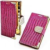 Luxus Strass Handy Tasche Schutz Hülle für Samsung Galaxy Note 3 Neo N7505 Book Style Klapp Etui Glitzer Case Flip Cover Bag in Pink