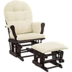 Windsor Glider and ottoman with beige cushion (Espresso )