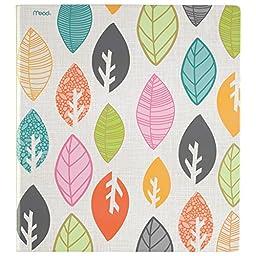 Mead 3 Ring Binder, 1 Inch, Botanical Boutique, Leaves Design (73085)