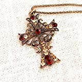 Celebrity Jewellery-136 Fashion Swarovski Crystal with Rhinestone Cross Pendant Necklace Long Retro Chain Vintage Necklace for Women