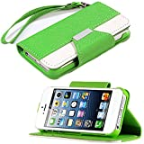 myLife (TM) Bright Green and White Classic Fashion Design - Textured Koskin Faux Leather (Card and ID Holder + Magnetic Detachable Closing) Slim Wallet for iPhone 5/5S (5G) 5th Generation iTouch Smartphone by Apple (External Rugged Synthetic Leather With Magnetic Clip + Internal Secure Snap In Hard Rubberized Bumper Holder)