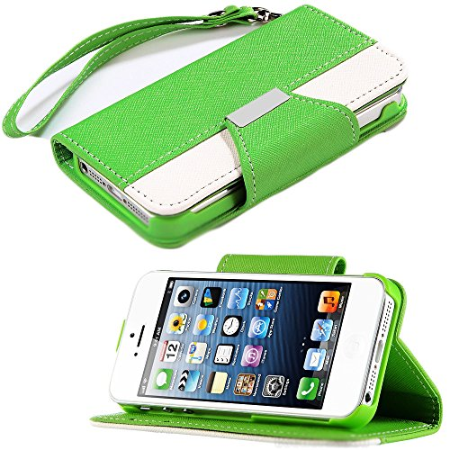 Mylife Bright Green And White Classic Fashion Design - Textured Koskin Faux Leather (Card And Id Holder + Magnetic Detachable Closing) Slim Wallet For Iphone 5/5S (5G) 5Th Generation Smartphone By Apple (External Rugged Synthetic Leather With Magnetic Cli