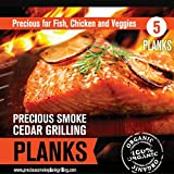 Salmon Cedar Grilling Plank Set 5pk for Afire Wood 100% Eco Friendly FSC Certified Free of Any Chemical Additives Use Food Grade Lubricants Made in USA From Western RED Cedar - Lifetime Money-back Guarantee