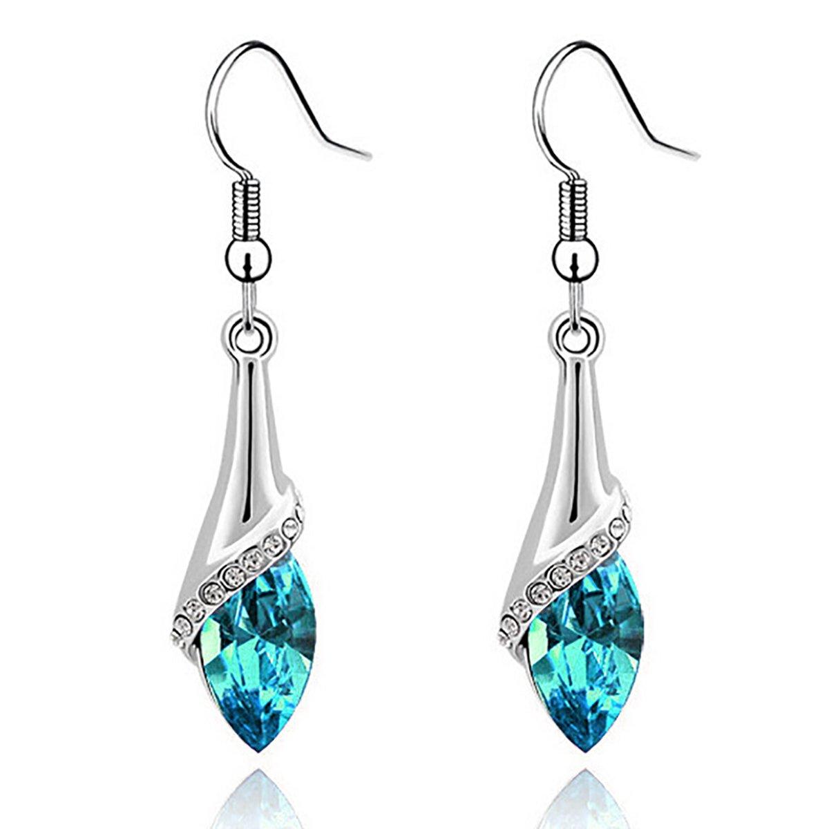 Angel Teardrop Womens Silver Swarovski Elements Crystal Bangle Bracelet earring necklace