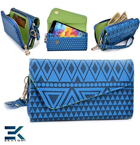 [ Tribal Urban ] |Dark Blue | Universal Clutch Women'S Wallet Wristlet Blackberry Q10 Phone Case. Bonus Ekatomi Screen Cleaner |Esmlucbd| front-1042422