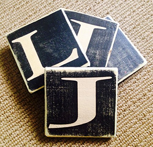 4 Letter Monogram Rustic Shabby Chic Wood Water Resistant Coasters (Set Of 4) Choose Letters