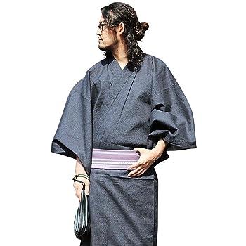 男性用 浴衣 五件套 (浴衣+帯+腰紐+信玄袋+木屐) 100%纯棉麻