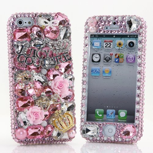 Great Price BlingAngels® 3D Luxury Bling iphone 5 5s Case Cover Faceplate Swarovski Crystals Diamond Sparkle bedazzled jeweled Design Front & Back Snap-on Hard Case (100% Handcrafted by BlingAngels) (Light Pink Juicy Crown Design)