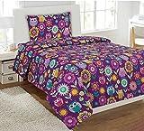 Fancy Collection 4 Pc Kids/teens Purple Owl Flowers Design Luxury Sheet set Full size New