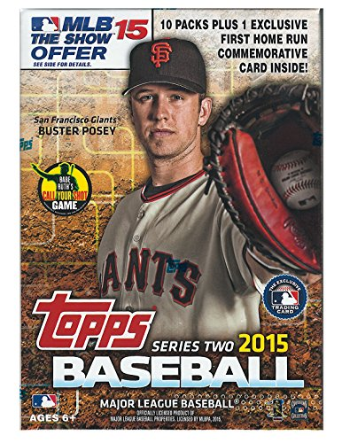 2015 Topps MLB Baseball Series #2 Unopened Blaster Box with 10 Packs of 10 Cards Plus One Exclusive First Home Run Commemorative Medallion Card