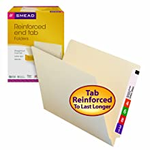 Smead End Tab File Folders, Letter Size, Straight Cut, Reinforced Tab, 11 Point, Manila, 100 Per Box (24110)