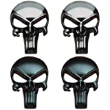 Creatrill 4 Pieces Bundle of Black & Gunmetal Plating 3D Metal Decal/Sticker - Tactical Skull for Gun Magazine, Magwell, Mag, Car, Truck, Motorcycle, etc (Color: 1)