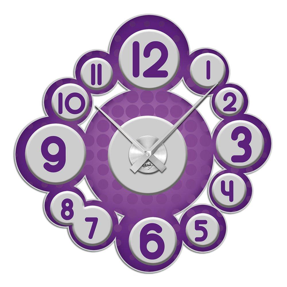 Wandsticker Uhr mit Uhrwerk Wanduhr Wohnzimmer Retro Kreise Kinderzimmer (Uhr Silber gebürstet ) günstig