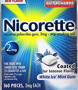 Nicorette Gum, 2mg, Ice Mint, 210 pieces, Intense White Icey Coating - EZ release pkging