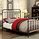 Iria Contemporary Vintage Style Dark Bronze Finish Cal King Size Bed Frame Set