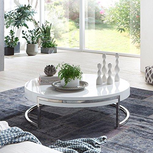 couchtisch rund wei hochglanz breda lack gestell. Black Bedroom Furniture Sets. Home Design Ideas