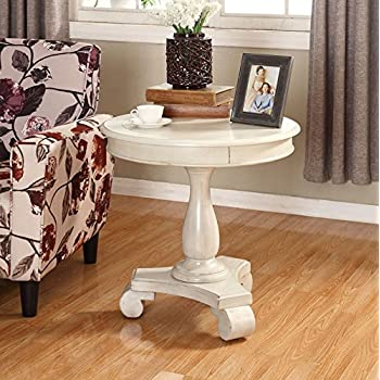 Roundhill Furniture OC0024WH Rene Round Wood Pedestal Side Table, White