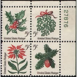 1964 VINTAGE CHRISTMAS FOLIAGE ~ MISTLETOE ~ EVERGREENS ~ POINSETTIA ~ HOLLY #1257 Plate Block of 4 x 5¢ US Postage Stamps