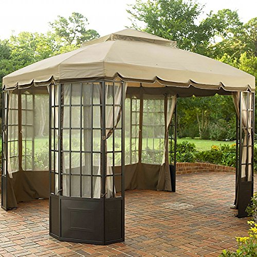 10 x 12 tuscany bay window patio gazebo with mosquito netting