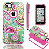 iPhone 5C case Cover,iPhone 5C case cute, ULAK High Impact Hybrid PC TPU Shock Absorbing Case for Apple iPhone 5C w/ Screen Protector and Stylus - Retail Packaging (Paisley Flower + Rosered PC)