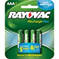 Rayovac Recharge PLUS High-Capacity Rechargeable 900 mAh NiMH AAA Pre-Charged Batteries, 4-pack (PL724-4)