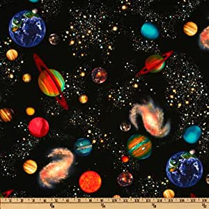 Timeless treasures solar system black fabric for Space fabric by the yard