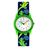 Timex Boys T72881 Time Machines Green Geckos Elastic Fabric Strap Watch (Color: Green Geckos)