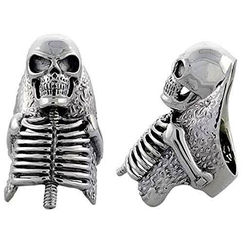 Sterling Silver Skeleton Gothic Biker Ring, (49 mm) wide, available sizes R to Z+2