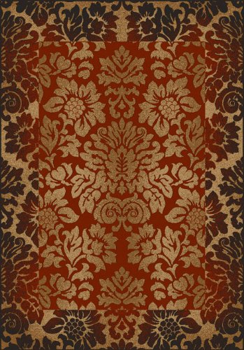 "5'5"" x 7'7"" Rectangular Radici USA 1717/1211 Brick Color Machine Made Italian ""Como Contemporary Collection"" Floral Pattern Rug"