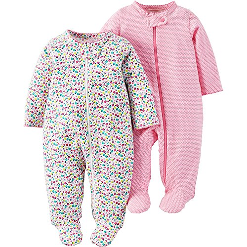 Child Of Mine by Carter's Baby Girl Pink and Multicolor Sleep N Play, 2-Pack (0-3M) (Child Of Mine Clothes compare prices)