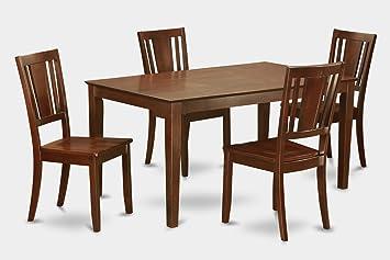 East West Furniture CADU5-MAH-W 5-Piece Dining Table Set