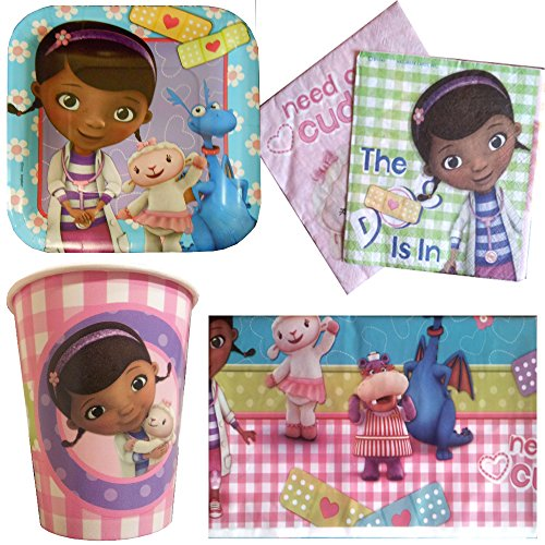 Doc McStuffins Party Pack for 8: Cups, Full Sized Napkins, Small (Dessert-Sized) Plates and Tablecover
