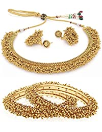 Jewels Galaxy Gold Plated Collection With Royal Necklace Set, Pair Of Traditional Bangles - Combo Of 2