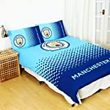 Manchester City FC Official Fade Reversible Football Crest Duvet Cover Bedding Set (Double Bed) (Blue/Navy)