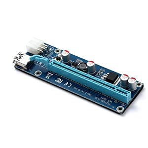 PCI-E Extender Riser Card Express USB 3.0 1x to 16x Adapter with SATA Power Cable & LEDs for BTC Miner