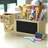 KitMax (TM) Home Decor Fashion Blackboard & Drawer Desktop Office Supply Wooden Candy Pen Pencil Container Case Stand Holder Organizer