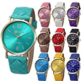 Yunanwa 10 Pack Women Men Unisex Platinum Watches Geneva Roman Leather Band Analog Quartz Wrist Watch