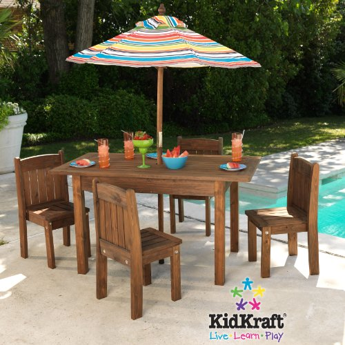 Kidkraft table and stacking chairs with striped umbrella for Outside table and chairs with umbrella
