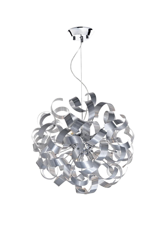 9 Light Ribbon Pendant with Satin Chrome