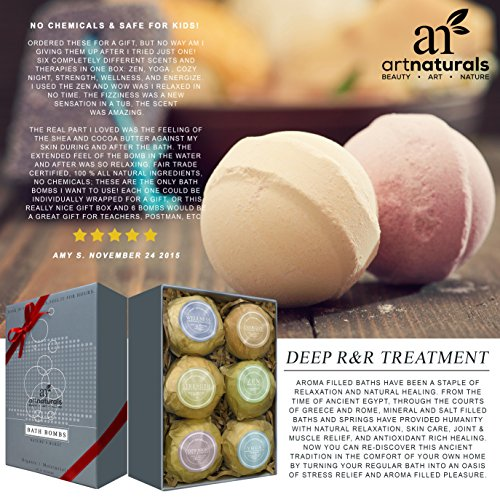 Art-Naturals-Bath-Bombs-Mothers-Day-Gift-Set-6-Ultra-Lush-Essential-Oil-Handmade-Spa-Bomb-Fizzies-Organic-Natural-Ingredients-Shea-Butter-for-Moisturizing-Dry-Skin-Relaxation-In-a-Box