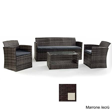 Set salottino Lipari polyrattan divano 3 posti poltrone cuscini tavolino marrone/ecrù 750/7ME