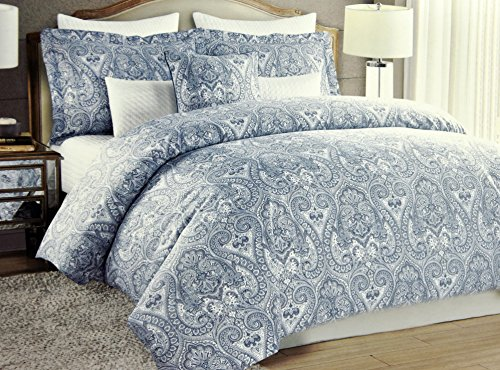Nicole-Miller-Bohemian-Duvet-Cover-Luxury-Boho-Style-Paisley-Print-in-Vibrant-Blue-Full-Queen-Size-3-Piece-Bedding-Set