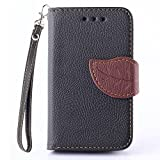 Samsung GALAXY Young 2 G130H Case, IVY Black - Leaves Magnetic Snap Series Wallet Card Flip Synthetic Holster Leather Stand With Lanyard Case Cover Skin For Samsung GALAXY Young 2 G130H