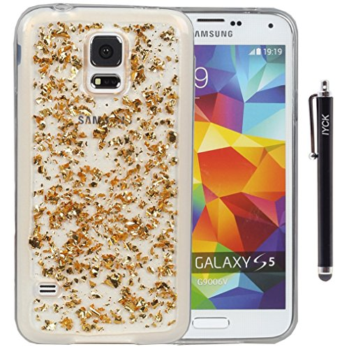 S5 Case, Galaxy S5 Case, iYCK Luxury Bling Glitter Sparkle [Gold Foil Embedded] Transparent Flexible Soft Rubber Gel TPU Protective Shell Hybrid Bumper Case Cover for Samsung Galaxy S5 - Gold (Galaxy S5 Protective Case Gold compare prices)
