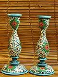The India Craft House Kashmiri Art Candle Stands - White , Blue & Orange Large