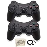 Kolopc Wireless Bluetooth Controller for PS3 Double Shock - Bundled with USB Charge Cord (Black1 and Black1) (Color: Black1 and Black1)