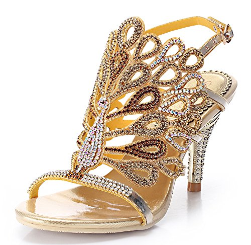 Honeystore Women'S Peacock Shaped Pattern Handmade Rhinestone Sandals Gold 8 B(M) Us